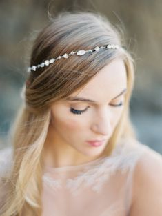Rhinestone Bridal Crown, White Opal Rhinestone Bridal Head Wrap Crown, Silver Crown, Headpiece- Style 3415