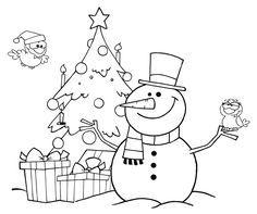 Ausmalbild Weihnachten: Kostenlose Malvorlage: Schneemann und