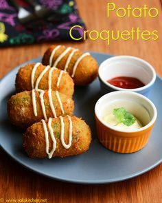Learn how to make South Indian recipes, North Indian recipes and eggless baking recipes with step by step pictures and videos! North Indian Recipes, South Indian Food, Indian Food Recipes, Croquettes Recipe, Potato Croquettes, Veg Recipes, Snack Recipes, Cooking Recipes, Starter Recipes