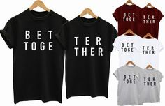 T-Shirt Better Together Women Couple Matching Cute Love Gift Idea Dope in Clothes, Shoes & Accessories, Women's Clothing, T-Shirts Cute Couple Shirts, Couple Tees, T Shirt Couple, Couple Shirt Design, Couple Clothes, Matching Couple Outfits, Matching Couples, Matching Shirts, T-shirt Paar