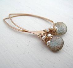 Labradorite Woven Pearl Earrings Labradorite Earrings