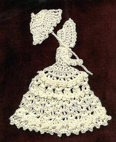 crocheted ladies, some single, some doilies