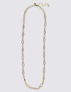 Oval Link Pearl Long Necklace   M&S