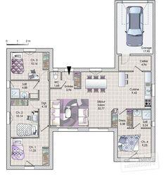 Plan habillé Rdc - maison - Une maison en phase avec son époque