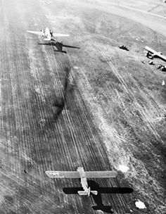 C-47 taking off towing a troop glider, c.1944