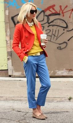 Casual chic look with lots of layers and colors