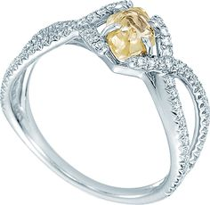 Unity rough diamond engagement ring featuring a 0.89ct yellow rough diamond. A natural beauty