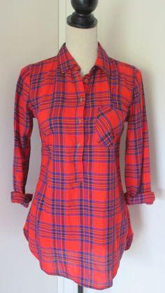 Merona Red Orange Plaid Lightweight Flannel Pullover Shirt Sz S Womens #Merona #Pullover #Casual