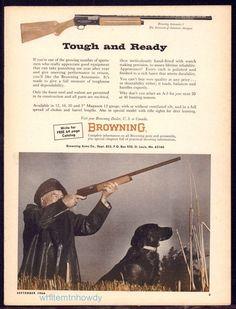 1966 BROWNING Automatic-5 Shotgun AD w/Hunter & Black Labrador Retriever Photo #Browning