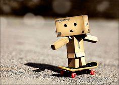 Danbo on a skateboard