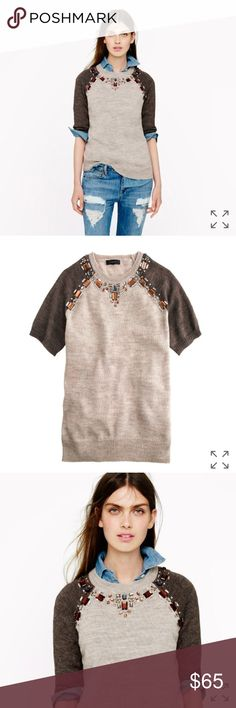 """J.Crew Jeweled Sweater Tee - Small NWOT. EUC. Worn once.   SIZE/FIT Relaxed fit. Hits at hip. Sleeve length: 15 1/4"""" from back neck.  PRODUCT DETAILS We took one of our favorite sporty silhouettes—the baseball tee—and transformed it into a sweater (a very, very luxe one) using light and airy Italian yarns. Featuring an easy short-sleeve shape, it's finished with hand-applied jewels inspired by a statement necklace, so there's no need for accessories.  Alpaca/merino wool/polyacrylic in a…"""