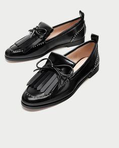 zapatos zara negros total black planos mocasines Zapatos De Piso af9f34334ea