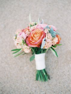 Spring colorful wedding bouquet: http://www.stylemepretty.com/2017/01/26/pink-black-tie-wedding/ Photography: Lacie Hansen - http://laciehansen.com/