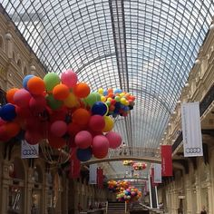 .@pereyaslavka | #moscow #gum #passage #shoppingmall #color #balloon #sky #architecture #arc #... |
