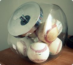 A must do for baby Bennett boy # 2 vintage baseball nursery! Think I might use big mason jar instead ;)