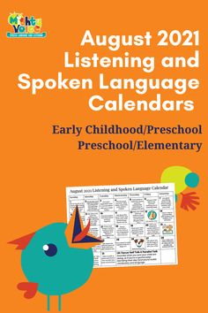 Daily listening, speech, language, and articulation activities for early childhood, preschool, and elementary age listeners help you guide families and their at home listening practice. This August 2021 calendar includes daily activities and special holidays and events so your families know how to help their children use and practice their auditory skills. #listening #auditoryskills Listening Activities, Articulation Activities, Active Listening, Listening Skills, Daily Activities, Toddler Activities, Special Holidays, Holidays And Events, Preschool Calendar