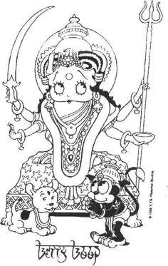 betty boop hindu goddess with bimbo pudgie b w coloring page