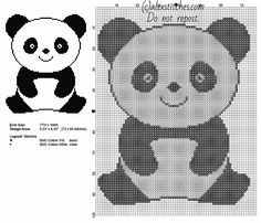 A panda animal for babies free simple cross stitch pattern 73 x 90 stitches 2 DMC threads