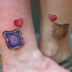Cute best friends tattoo. Originally found on: 40 Beautifully Touching Mother/Daughter Tattoos. Haha cool beans