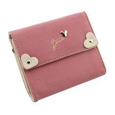 Korean Version Pink Coin Purse Small Fresh Love Heart Shape Mini Wallet Women Cash Organizer Fashion Clutch Bag Cute Student 100% Original Coin Purses