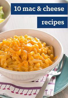 "10 Macaroni and Cheese Recipes -- Looking to add some ""comfort"" to your dinner menu? Check out our mac and cheese recipes--perfect to bring to your next potluck or picnic!"