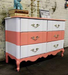 color blocked stripped dresser