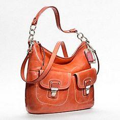 Poppy Leather Swing Hobo in Tangerine
