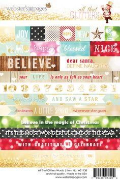 These are the 4x6 Word Stickers from the All That Glitters collection from Webster's Pages.