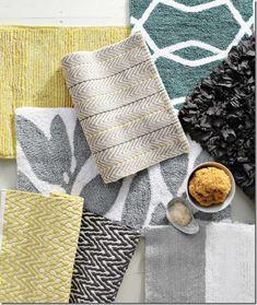 yellow, gray, blue color palette (bathroom textiles)