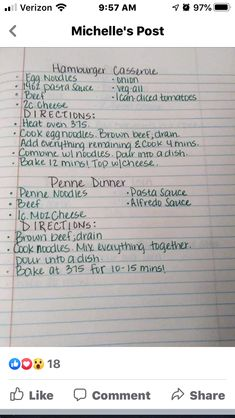 Hamburger Casserole, Hand Written, How To Cook Eggs, Dinners, Collections, Favorite Recipes, Writing, Cooking, School