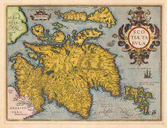 Antique map of Scotland.