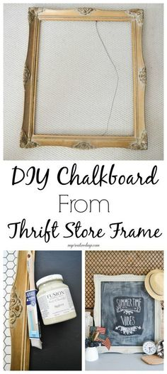 DIY Chalkboard From Thrift Store Frame - Want to make a unique chalkboard for your home? Head to the thrift store and make this DIY Chalkboard From Thrift Store Frame. #ad
