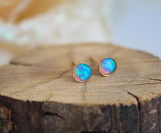 Opal Studs, classic 4mm 14k Gold Filled Studs, Blue Opal stud earrings, Gold Opal Posts, minimal earrings, October Birthstone opal jewelry