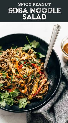Spicy Peanut Soba Noodle Salad - red peppers, cabbage, chicken, soba noodles, and a quick homemade spicy peanut sauce. Salads don't get much yummier than this. #salad #sobanoodle #glutenfree Clean Eating Recipes, Lunch Recipes, Real Food Recipes, Vegetarian Recipes, Chicken Recipes, Cooking Recipes, Asian Recipes, Ethnic Recipes, Easy Recipes