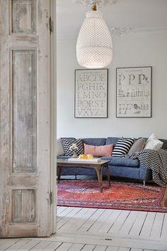 denim sofa | Vloerkleed woonkamer