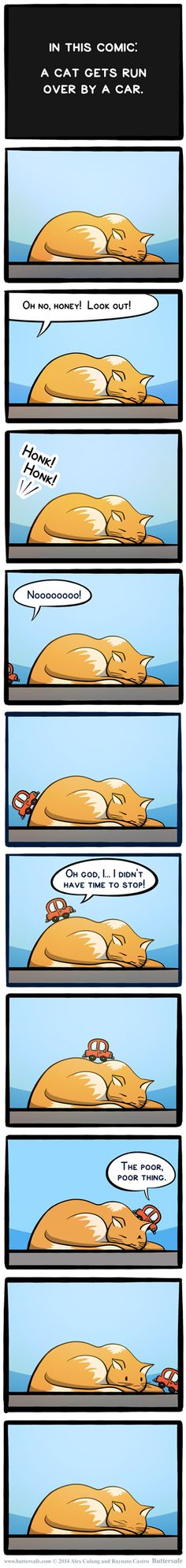 In this comic: A cat gets run over by a car.