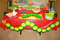 Love the happy birthday banner on this Very Hungry Caterpillar dessert table. #party