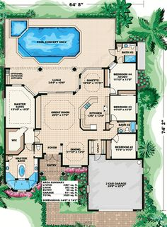 Plan W66028WE: Mediterranean House Plans & Home Designs