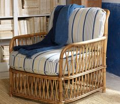 Ralph Lauren Home La Plague Collection French Nautical Seaside Ocean Beach House Style Blue and White - elegant decor Decor, Furniture, Modern Patio Furniture, Beach House Decor, Home Furniture, Wicker Furniture, Home Decor, Rattan Lounge Chair, Ottoman Furniture