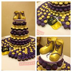 Omega Psi Phi Que-Sino cake display. Purple and gold cupcakes and their Gold Boots out of cake