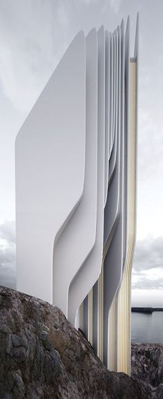Ce bâtiment utilise le blanc comme couleur des matériaux. Le blanc donne une pureté du matériau ce qui donne l'impression d'une certaine propreté des matériaux.