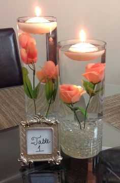 New wedding table decorations silver floating candles Ideas Diy Centerpieces, Floating Candle Centerpieces, Quinceanera Centerpieces, Coral Wedding Centerpieces, Picture Centerpieces, Wedding Tables, Flower Centrepieces, Floating Candles Wedding, Flower Arrangement