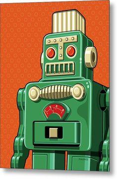 Pop Art Vintage, Vintage Robots, Retro Robot, Vintage Design, Vintage Green, Vintage Toys, Vintage Posters, Robot Illustration, Illustrations