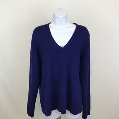 Chico's Womens Sweater Size 3 Long Sleeve V-Neck Cobalt Blue Career Wear to Work #Chicos #VNeck #Work
