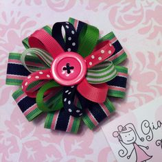 Hot pink, green & navy striped stacked hairbow! Great for spring & summer! From Giggly Girl Bowtique!
