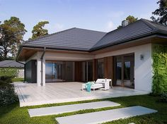 Zdjęcie projektu Goran 2 BSE1101 Modern Bungalow House Design, House Front Design, Morrocan House, House Construction Plan, Pool House Plans, Model House Plan, Contemporary House Plans, House Blueprints, Architectural Design House Plans