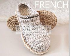 FRENCH version: TUTORIEL CROCHET Chaussons pour hommes avec semelles de corde, chaussons, pantoufles,hommes,adulte,modèle crochet,sabots