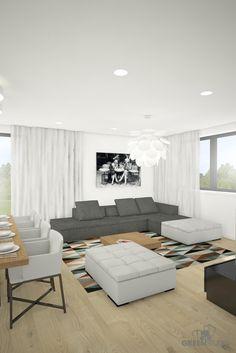 Interiér nízkoenergetického domu v Kittsee - obývačka