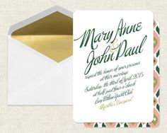 How elegant are these gold, emerald, and coral #wedding invitations?