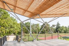Stadium with tribunes Bamboo Structure, Shade Structure, Steel Structure, Fontainebleau, Philippe, Outdoor Furniture, Outdoor Decor, Pavilion, Canopy